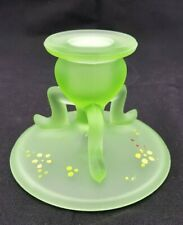 Depression Glass Green Candlestick 3 Leg L.E. Smith Glass Pattern #1402 UV RARE
