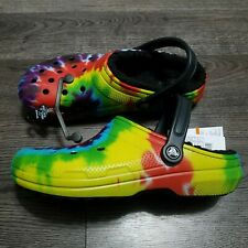 CROCS Classic Tie Dye Lined Clogs Mens 9 Womens 11 yellow green blue Sandals