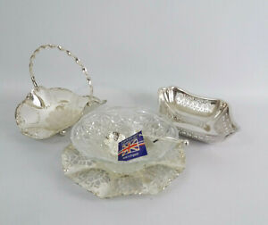 3 Vintage Silver Plated Items Glass Dish and Spoon, Small Cutaway Dish & Basket