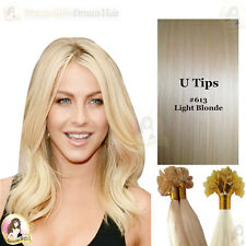 """Pre Bonded Nail/U Tip Indian Remy Human Hair Extensions 18""""#613Light Blonde50pcs"""