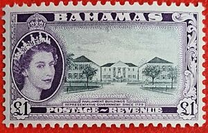 Bahamas SG216 unmounted mint (MVLH) stamp of the QEII 1954 issue £1 Very fine.