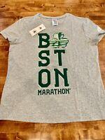 ADIDAS Womens Irish Tee/T-Shirt Boston Marathon Short-Sleeve Size S - Gray/Green