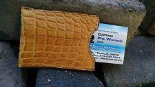 Alligator leather Magnetic Sport money clip Card Holder Swamp Gator Cognac M1