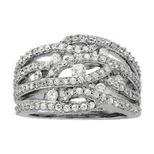 Row Right Hand Diamond Ring New Ladies 14k White Gold Four