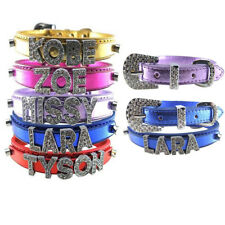 Bling Personalized Pet Dog Puppy PU Collar Free Name Cat Rhinestone Letter