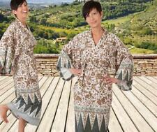 Bassetti Damen Kimono Morgenmantel Lampung Gr L XL V6 braun weiß grün UVP 79,-