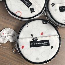 NWT San-X Monokuro Boo pig White Round Makeup bag Coin case Kawaii piggy Hearts