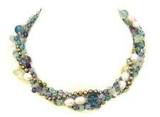 Designer bezaubernde Halskette aus Fluorit und Süsswasserperlen vier-reihig