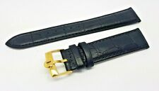New 20mm BLACK Genuine Leather Watch Strap / Gold Plated Buckle For Omega