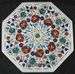 18 x 18 Inches White Inlay Stones Coffee Table Top Royal Look Art End table top