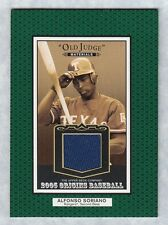 """2005 UD ORIGINS """"ALFONSO SORIANO"""" OLD JUDGE MATERIALS JERSEY CARD BV $10"""