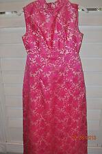 Vtg 50s 60s Embossed Hot pink Hostess Mandarin maxi dress Wiggle XS Brocade
