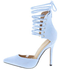 Light Blue Strappy Lace Up Pointed Toe Stiletto Heels, US 11
