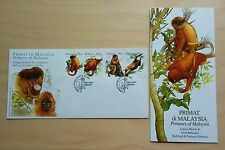 2003 Malaysia Primates Red Leaf & Proboscis Monkey, 4v Stamps on FDC