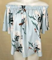 EBBY AND I Women's Floral Summer Off Shoulder Blouse Top Size M