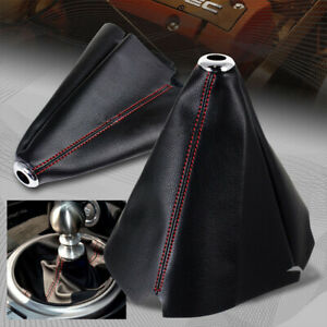 1Pcs Black PVC Leather Car Shifter Shift Boot Dust Cover Accessories Red Stitch