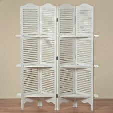 SCREEN WITH SHELF RACK JIVE 180x140x30 cm SHABBY WHITE 4-PIECE WOOD PARTITION