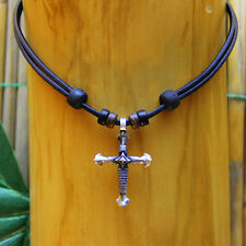 Lederkette Halskette Kette Kreuz Kreuzanhänger Kruzifix Kreuzschmuck Jesus