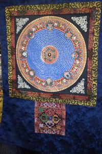 Thangka Tibet Mandala v.versch Schriftzeichen/Buddhist Symb Seidenbr 106x85cm