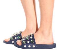 Tory Burch Logo Crystals Flip Flop Sandal Flat Vail Pearl Pool Slide Mules Sz 7