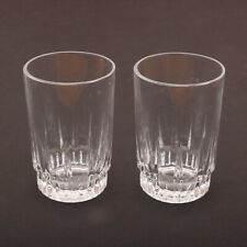 2 Clear Glass Linear Pattern Juice Glasses Cups
