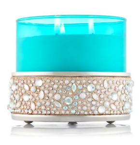 BATH & BODY WORKS GLITTERING GEMS GOLD METAL CANDLE HOLDER SLEEVE NEW!