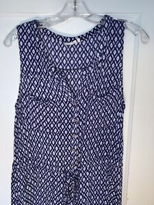Lilka Anthropologie Dao Ikat Blue Sleeveless Jumpsuit size M