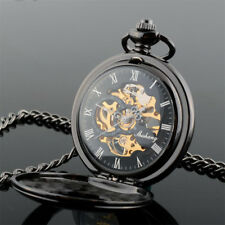 Men's Roman Dial Pocket Watch Quartz Wind UP Pocket Watch Chain & Clip XMAS Gift