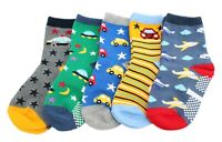 5 Pairs Baby Kid Boy Girl Cars Dinosaurs Non-slip Ankle Socks Age 1 2 3 4 5