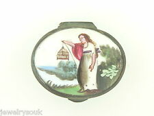 18TH CENTURY BATTERSEA BILSTON ENAMEL PATCH SNUFF BOX