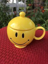 Teleflora Yellow  Smiley Face Mug/Bowl With Lid.