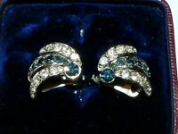 Vintage 1950s silver tone clear & blue sparkly rhinestone clip on earrings E3
