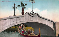 One of the Canal Bridges, Venice, California, Early Postcard, Unused