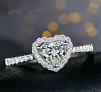 Gorgeous Heart 925 Silver Rings for Women White Sapphire Wedding Jewelry Gift UK