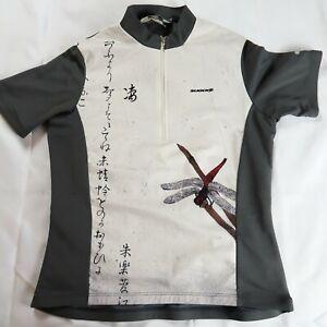 SUGOI Size Medium Cycling Jersey Grey Dragonfly Short Sleeve 1/4 Zip