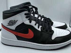 Nike Air Jordan 1 Mid Black Chile Red White Mens 554724-075 Size 7Y