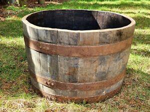 Whiskyfaß Bottich Pflanzkübel halb Holzfaß halbiert Eichenfaß Miniteich Halbfass