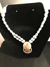 Miriam Haskell White Glass Flower Necklace