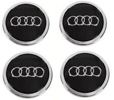 4 X BLACK AUDI ALLOY WHEEL CENTRE CAPS 69MM   A3 A4 A5 A6 S LINE  TT RS Q3 Q7