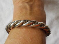 ~~ STERLING SILVER MEXICO TWISTED CUFF BRACELET ~~ 42 GRAMS ~~ SOLID!! ~~