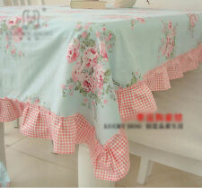 Shabby Chic Cottage Farmhouse Floral Table Cloth Blue Pink Ruffle Cotton Small