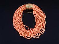 spektakuläre Korallen Collier Kette 26 Stränge feinste Lachs Koralle - Gold 750
