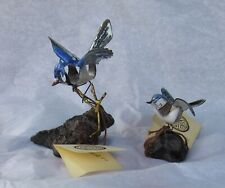 2-Brumm Enamel Copper Small Blue Jay and Gnatcatcher Birds on Burl Wood