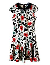 Womens Dress Floral Print Knit Jersey Short Sleeve Peter Pan Collar Drop Waist 8