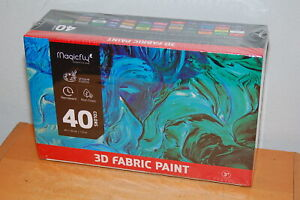 3D Fabric Paint, Magicfly 40 Colors Permanent Textile Paint with 3 Brushes...