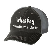 Whiskey Made Me Do It Glitter Ladies Trucker Hat - Country South