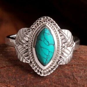 Turquoise Gemstone 925 sterling Silver Jewelry Solid Handmade Ring Size US 7.5
