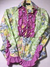 Etro Women's Button Down Ruffle Shirt Blouse Euro Size 40 Made In Italy EUC