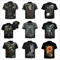 Men's 3D Skull Print T-Shirt Short Sleeve Funny Tee Shirts Fashion Casual Tops