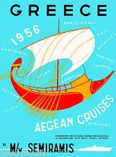 1956 Greece Greek Isle Aegean Cruises Vintage Travel Advertisement Art Poster